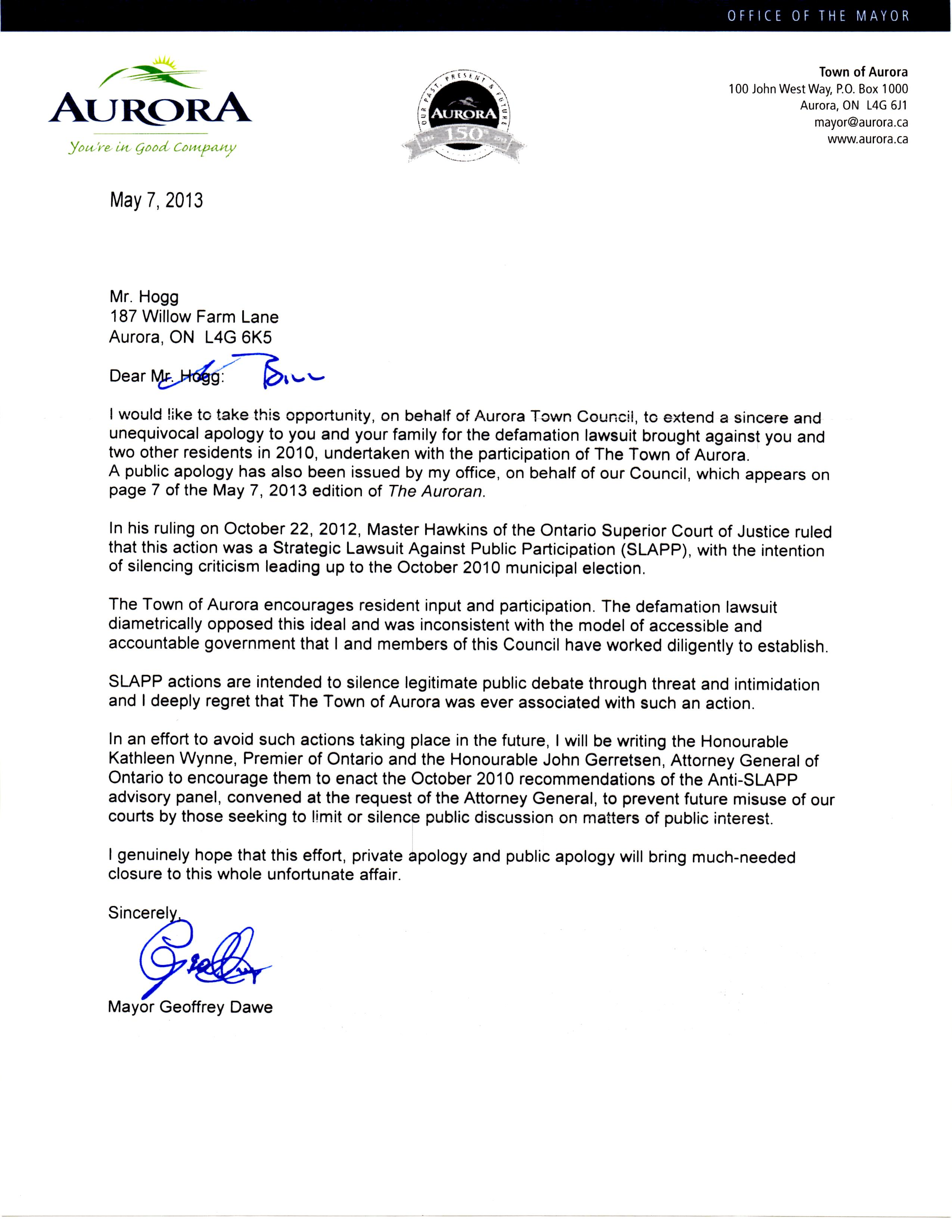 aurora citizen town apology letter
